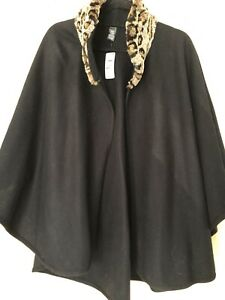 Marks And Spencer Ladies Cape BNWT RRP £45 Black, Animal Print