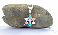 Sterling Silver Necklace&pendant Jewish Star of David/Cross holyland.israel Opal