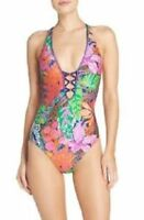 Trina Turk Multi Tropic Escape V-Plunge One Piece Swim Suit, Size 6