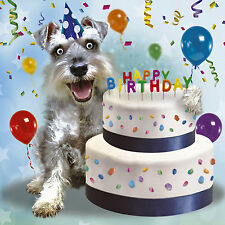 Schnauzer Dog & Cake Birthday Card 'Mine! 3D Goggly Moving Eyes Funny Card NEW