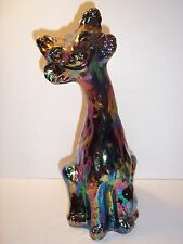 Fenton Glass BLACK CARNIVAL IRIDIZED ALLEY CAT Figurine QVC Exclusive 1992 Mint!