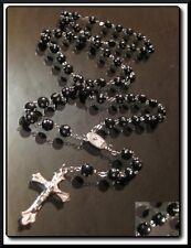 SeXy Rosenkranz Schwarz Kette Kreuz Anhänger Bettel Strass Jesus 55cm