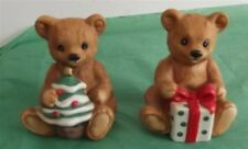 Vintage Homco/Home Interior Christmas Teddy Bears #5505 Set of 2