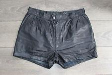 "Vintage Black Leather EPISODE High Waist Biker Hot Pants Shorts Size W31"" L2"""
