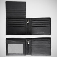 EGNT 12CC Trifold Wallet with Zips  RFID BLACK BIFOLD GENUINE LEATHER SLIM MENS