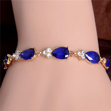 18k Yellow Gold Plated Pretty Attractive New Austrian Crystal Chain Bracelet 1pc