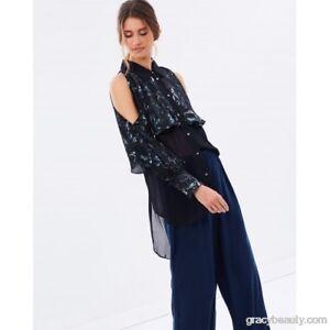 Ginger & Smart: Enigma Floral Shirt Cold Shouder Top, Size 8, $429