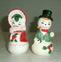 Vintage Figural Ceramic Holiday Salt and Pepper Shakers Snowman and Snowlady