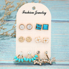 6 Pairs Turquoise Pearl Shiny Austrian Crystal Round Stud Earrings Set Jewelry