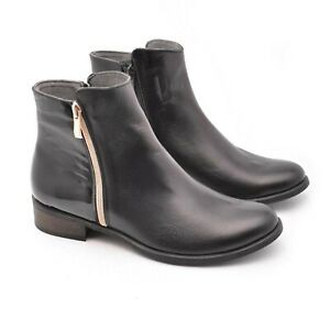 Ladies Ankle Low Heel Zipped Genuine Leather & Handmade Boots Shoes Poland