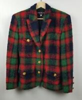 Harriet Selling Vintage Jacket Red Multi Plaid Wool Mohair Buttons Sz EU 40 US 4
