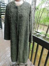 CHICOS so fun OLIVE GREEN EYELASH hair SWEATER knit JACKET coat HAND KNIT M/L