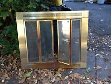 Plated Antique Style Brass Glass Fireplace Door w Mesh Curtain Pyromaster brand