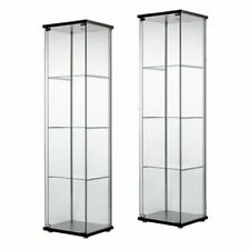 2 New Glass Door Display Cabinet Black Retail Boutique Jewelry Showcase Curio