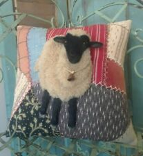 ANTIQUE CRAZY QUILT ACCENT PILLOW WITH HANDCRAFTED BLACK FACEDSHEEP ~ By Renate'