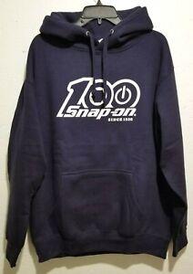 NEW Snap On Tools Men's 100th Anniversary Navy Blue Hoodie Hooded Sweatshirt