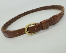 Coach Braided Leather Belt 3850 Brass Buckle Woven British Tan Brown 32