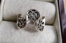 Plata esterlina 925 para mujeres y chicas Curvado Ondulado Decorativo pesado banda anillo Sz K 5.5