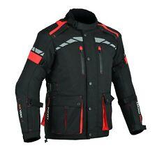 MOTORCYCLE BIKERS MEN ARMORED CORDURA WATERPROOF JACKET BLACK/RED CJ-9490