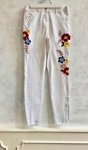 NEW- DENIM White Floral Embroidered Ladies Straight Leg Stretch Jeans Trousers 8