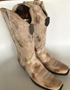 Los Altos Mens Cowboy Western Boots Size US 13 Leather Honey 7 Toe Handmade