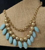Lia Sophia Signed Dangling Bead Pendants Chain Link Matte Gold Tone Necklace