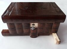 New chocolate brown handcarved wood wizard jewelry puzzle magic box brain teaser