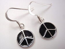 Silver and Black PEACE Sign Dangle Earrings 925 Sterling Corona Sun Jewelry