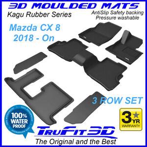 Fits Mazda CX8 2018 - 2021 KG Genuine 3D Black Rubber Car Floor Mats