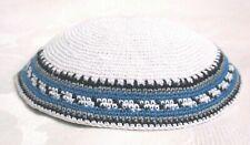 Yamaka Kippah Knit Crochet White Blue Grey Black Band Jewish Cap