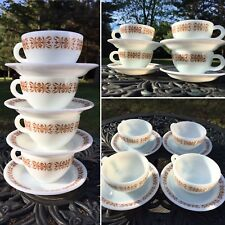 Americana Vintage Set 4 Pyrex Brand Tableware Milky White Glass Cups & Saucers