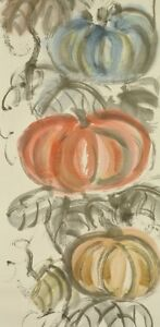 """JAPANESE PAINTING Hanging Scroll 83"""" Pumpkin 旭川 皿井 Japan INK OLD Picture b549"""
