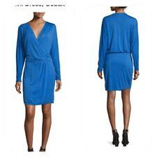 Haute Hippie Ruched Side Dolman Sleeves Cobalt Blue Mini Dress Size Medium  NWT