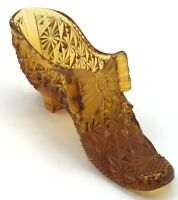 "Vintage Small  5"" L x 2 1/2"" T x 1 3/4""W No Brand Amber Bow Shoe No Tags"