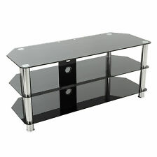 """TV Stand Black Glass for up to 60"""" inch for HD Plasma LCD LED Curved TVs - 125cm"""
