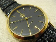 Rare 1990 Chrysler Executive Master Parts Exclusive Leather Gold Quartz Watch