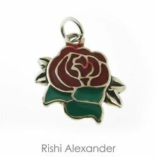 925 Sterling Silver Red Enamel Traditional Rose Charm Made in USA