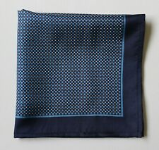 Blue Silk spotted pocket square handkerchief 30cm.