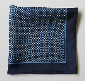 Blue Silk spotted pocket square handkerchief 30cm.
