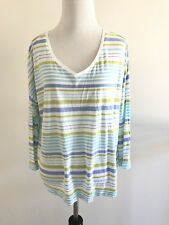 J Jill Womens Sweater Tee Size M  V-neck Striped 3/4 Sleeve Stretch Top White