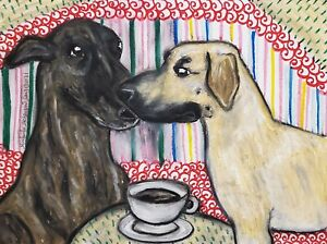 SLOUGHI Drinking Coffee Original 9x12 Pastel Painting Signed Artist KSams Dogs