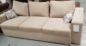 Sofa Bed Beige/Ivory with Storage Container Sleeping Function New Modern