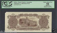 Bolivia - Banco del Comercio 5 Bolivianos 1-1-1900 P142 Reverse Proof AUNC