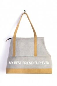 *NEW* Mona B Canvas Up-cycled My Best Friend Fur-ever Pet Carrier Tote Bag