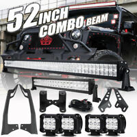 "For Jeep Wrangler JK Mount Bracket+52""inch 1000W+22"" LED Light Bar +4"" 18W Pods"