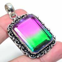 """Bi-Color Tourmaline Gemstone Handmade Ethnic Jewelry Pendant 2.17"""" VJ-9602"""