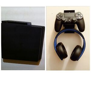 Wall mount  for PS4  SLIM CONSOLE & Controller headset, mounting screws (black)