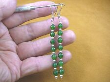 (ee404-33) 6 mm Green Jade Canada gemstone 7 bead + silver beads dangle earrings