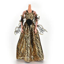 Stripe Golden Luxury Grown Widding Dress for Barbies with Shawl  SP