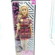 Barbie Fashionistas Doll 113 - Blonde with Plaid Love Shirt Dress - NEW